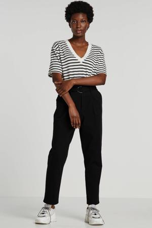 gestreept T-shirt met linnen ecru/zwart