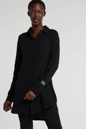 blouse met textuur zwart
