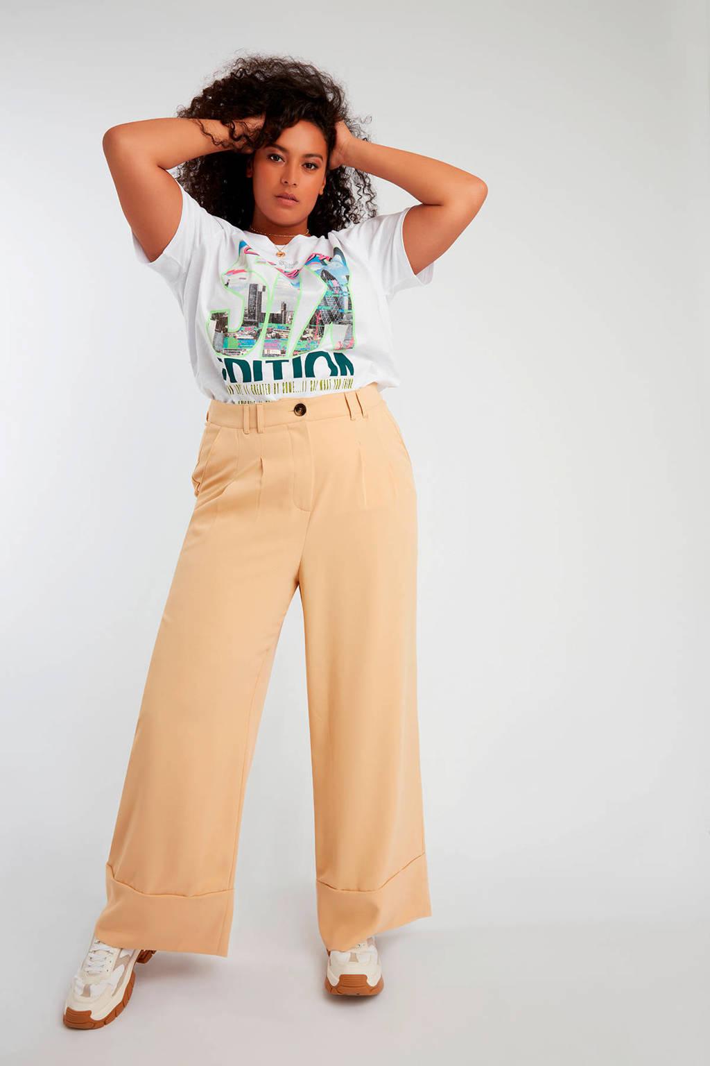 MS Mode T-shirt met printopdruk wit multi