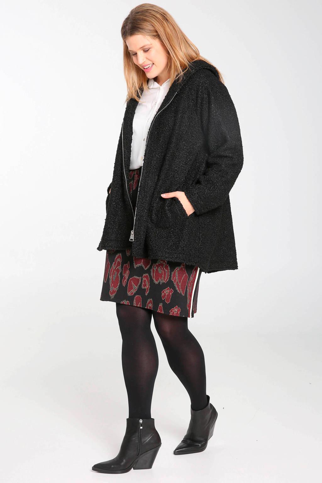 Paprika rok met contrastbies zwart/rood/groen, Zwart/rood/groen