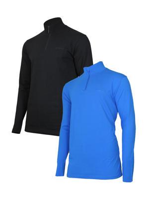 sport T-shirt zwart en kobaltblauw