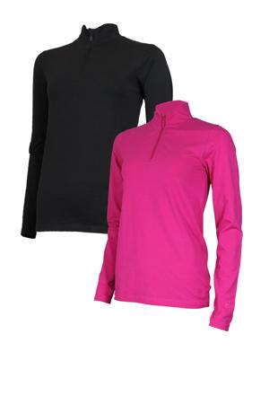 sport T-shirt (set van 2) zwart en roze