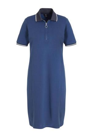 T-shirt met contrastbies blauw