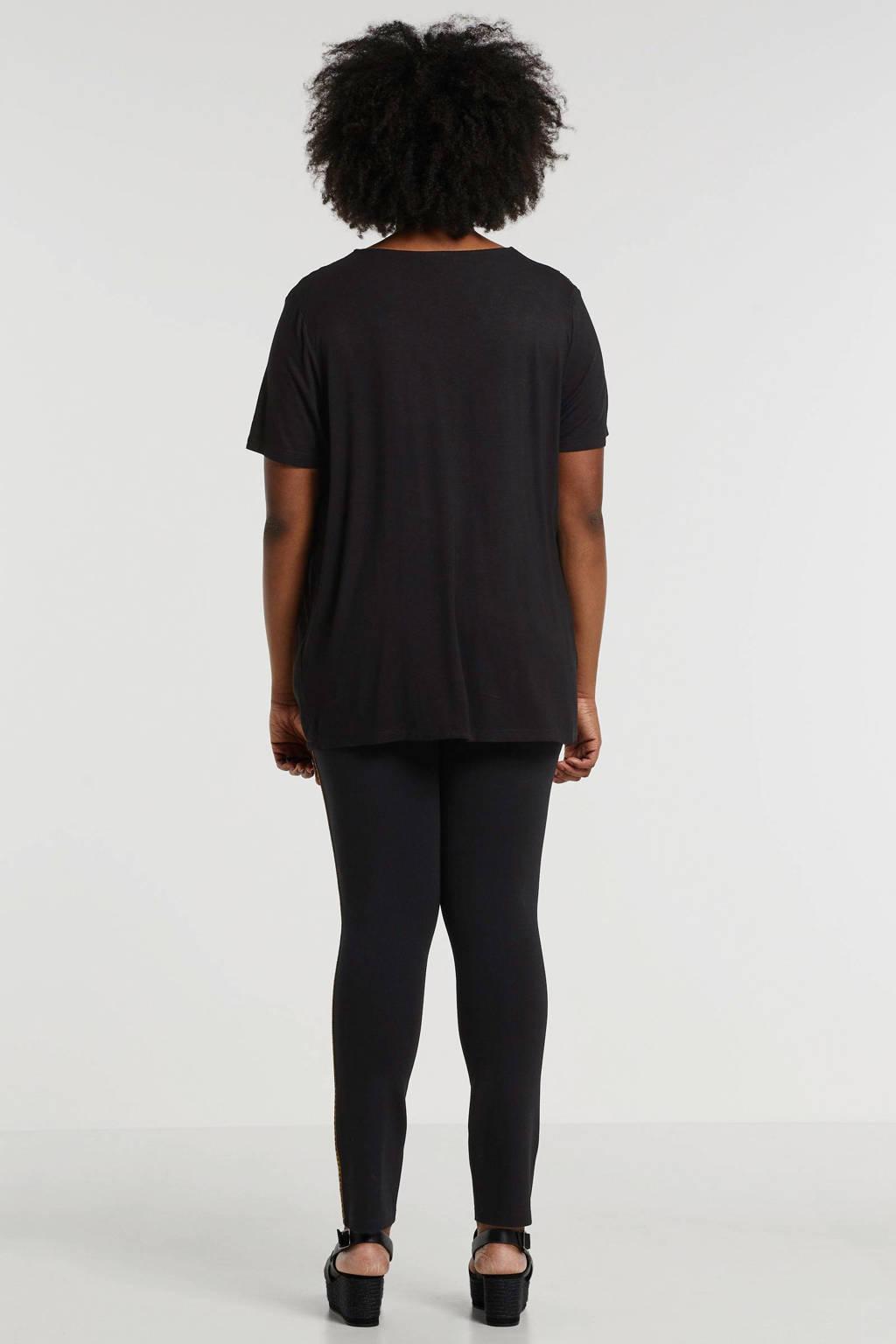 Yesta top met borduursels zwart/bruin, Zwart/bruin