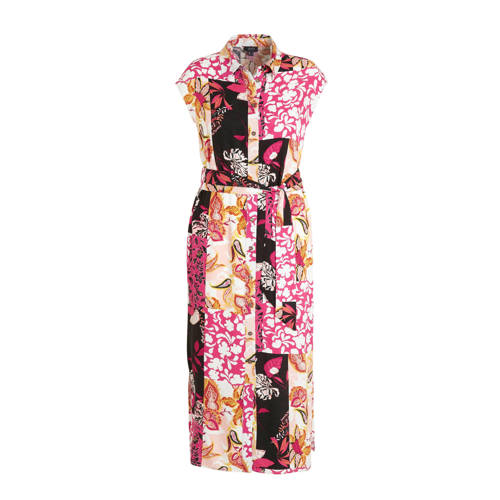 Yesta maxi blousejurk met all over print en ceintu