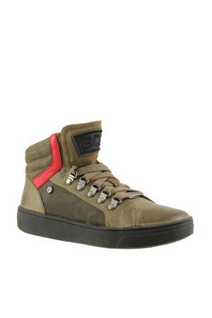 Swen Sun  leren sneakers kaki/rood