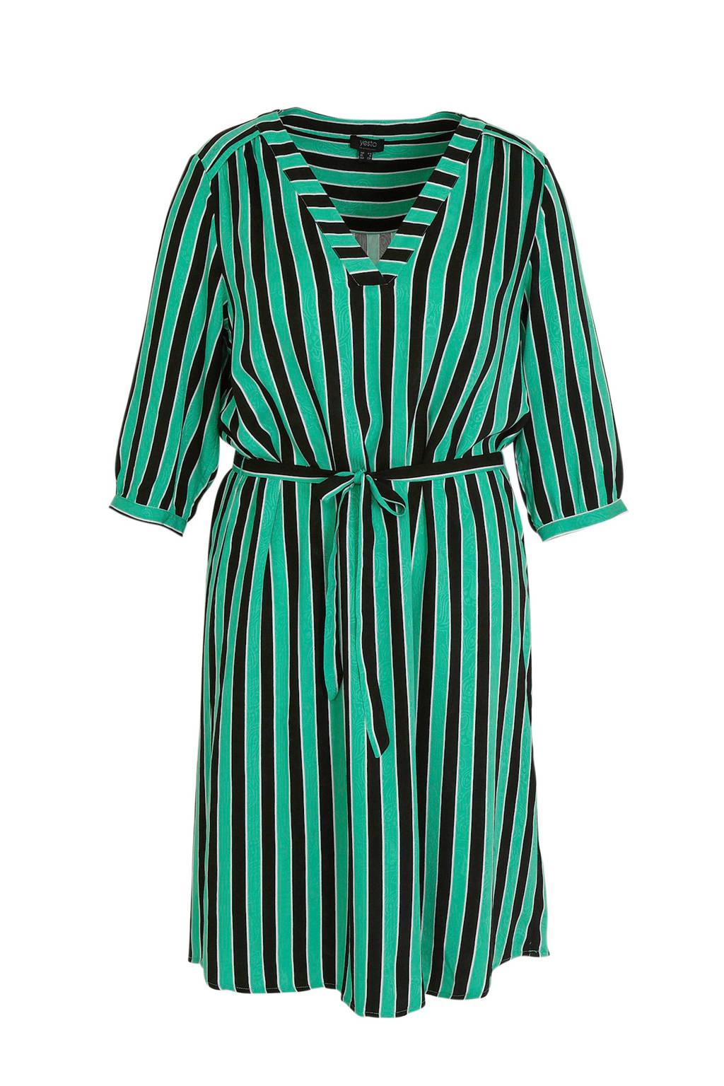 Yesta gestreepte jurk groen/multi, Groen/multi