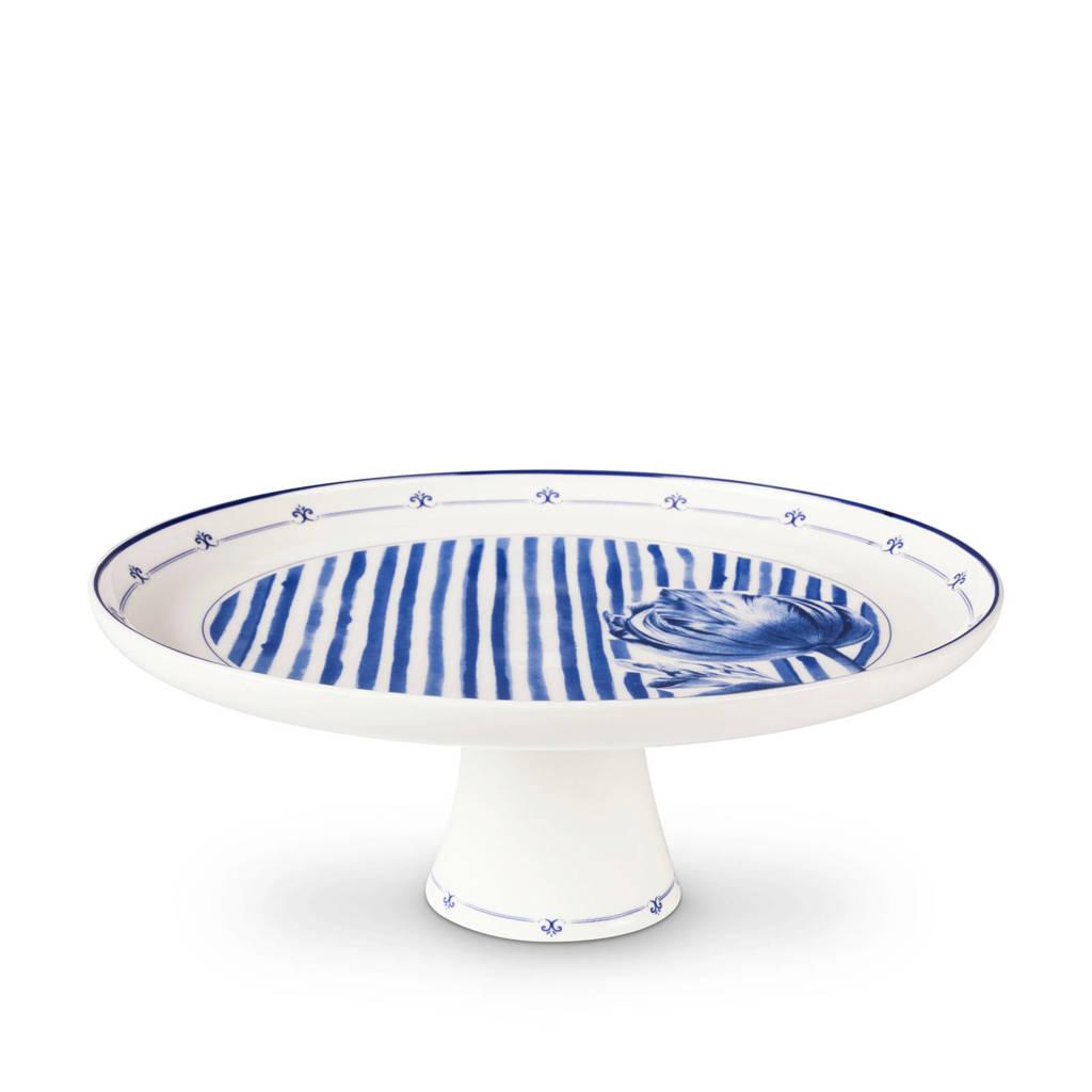 Jannie van der Heijden taartplateau (26 cm), Blauw, wit