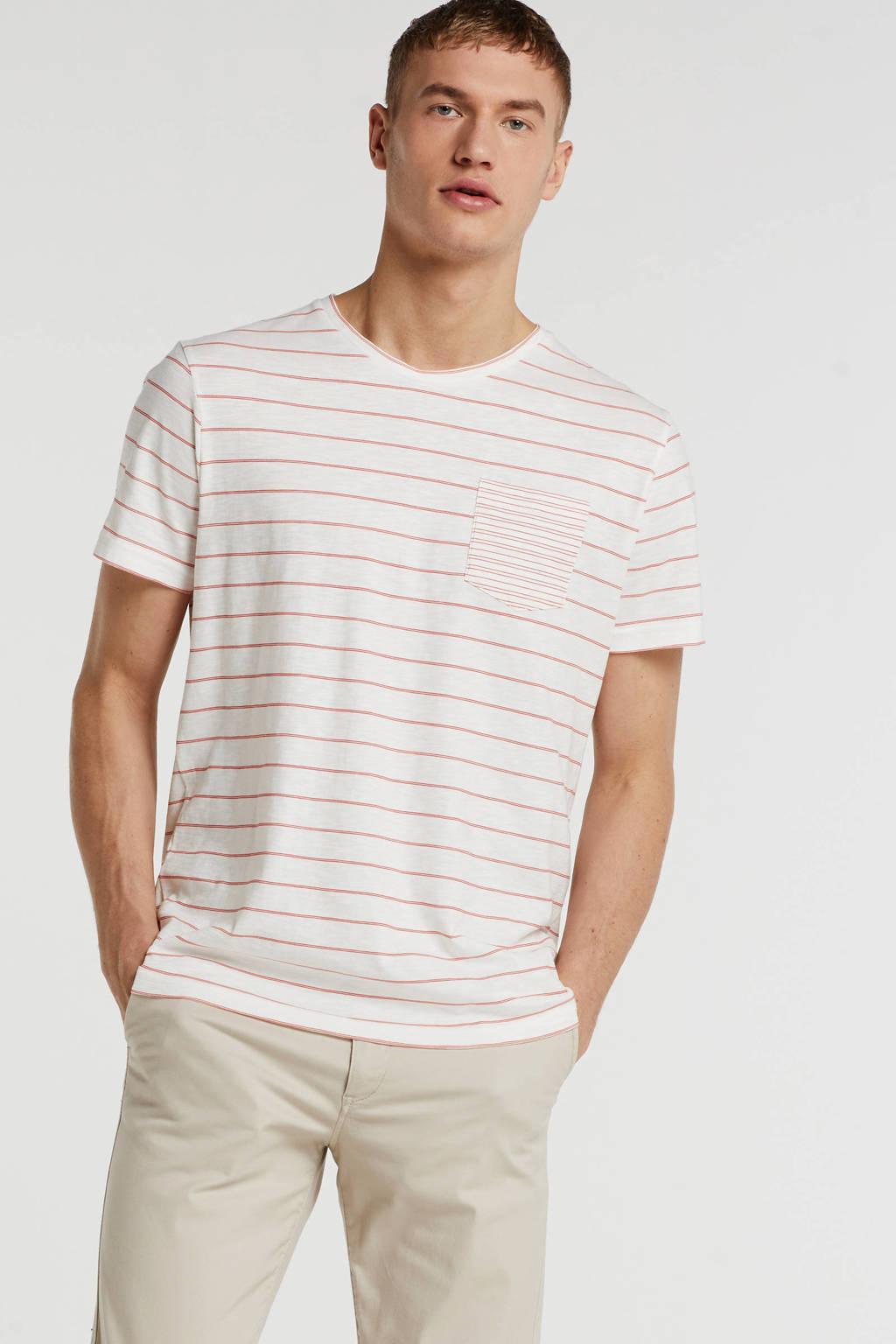 SUIT gestreept T-shirt wit/koraalrood, Wit/koraalrood