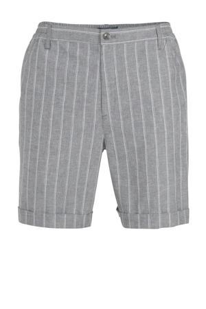 slim fit short met krijtstreep grijs