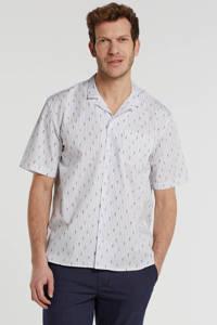 SUIT gestreept regular fit overhemd wit/blauw, Wit/blauw