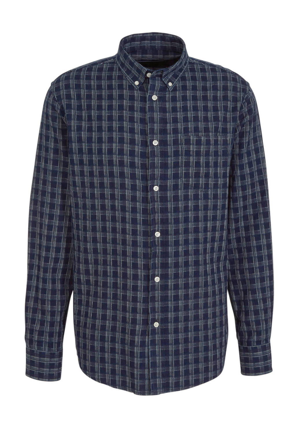 SUIT geruit regular fit overhemd donkerblauw, Donkerblauw
