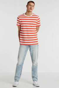 SUIT gestreept T-shirt koraalrood/wit, Koraalrood/wit