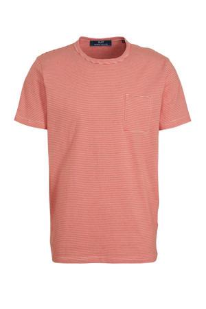 gestreept T-shirt zalm/wit