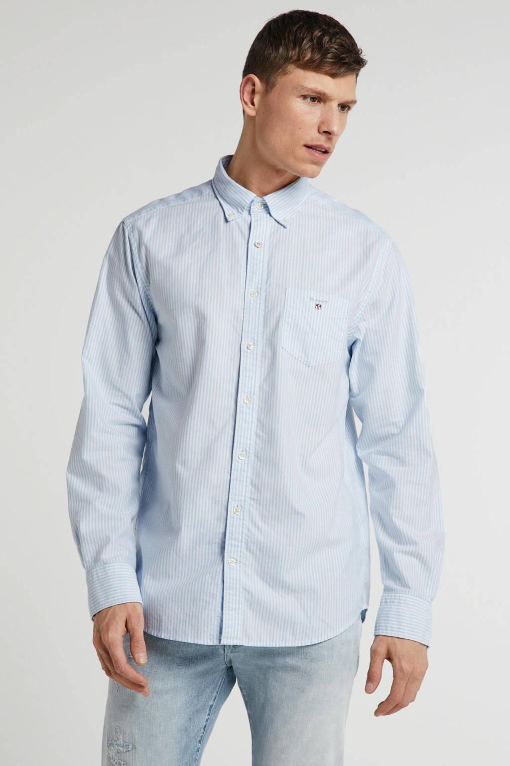 GANT gestreept regular fit overhemd blauw/wit, Blauw/wit
