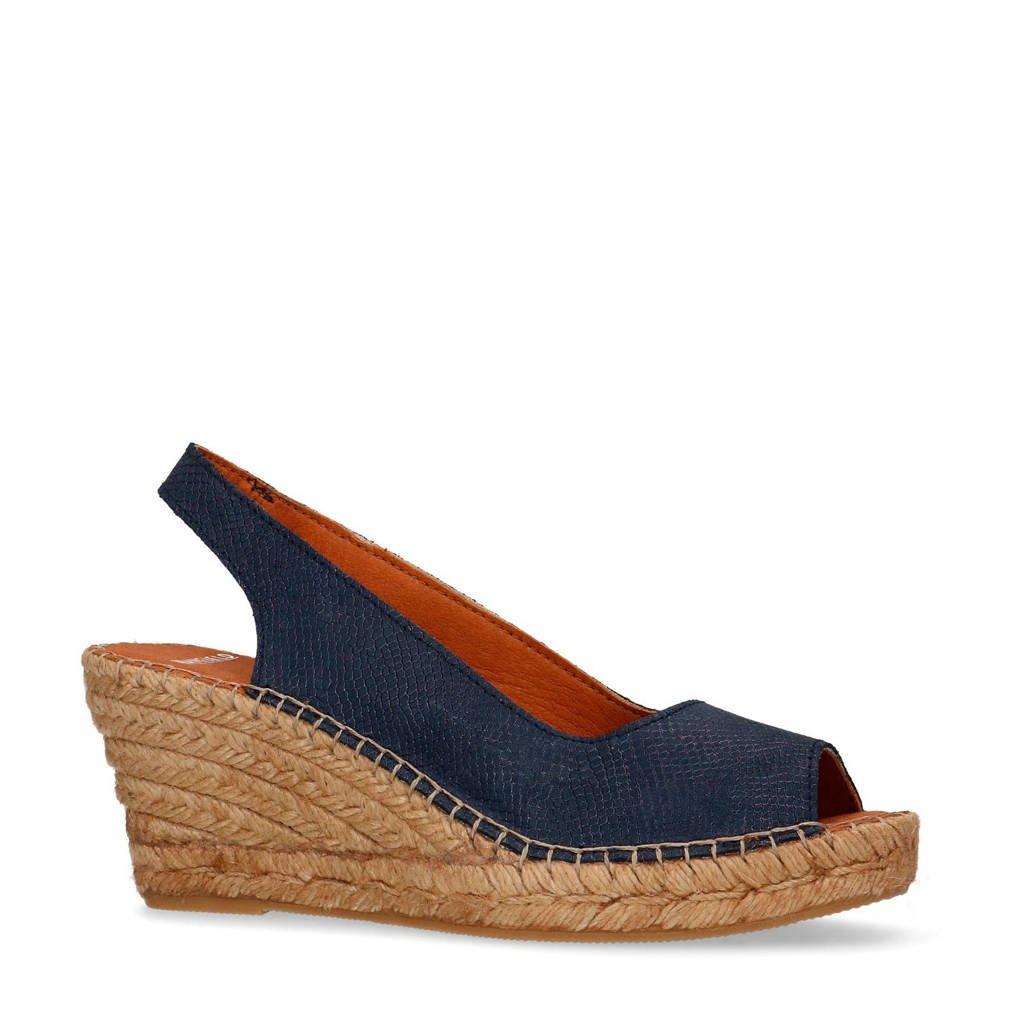 Manfield   leren sandalettes donkerblauw, Blauw