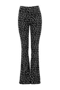 CoolCat Junior flared broek Pip met panterprint zilver/zwart, Zilver/zwart