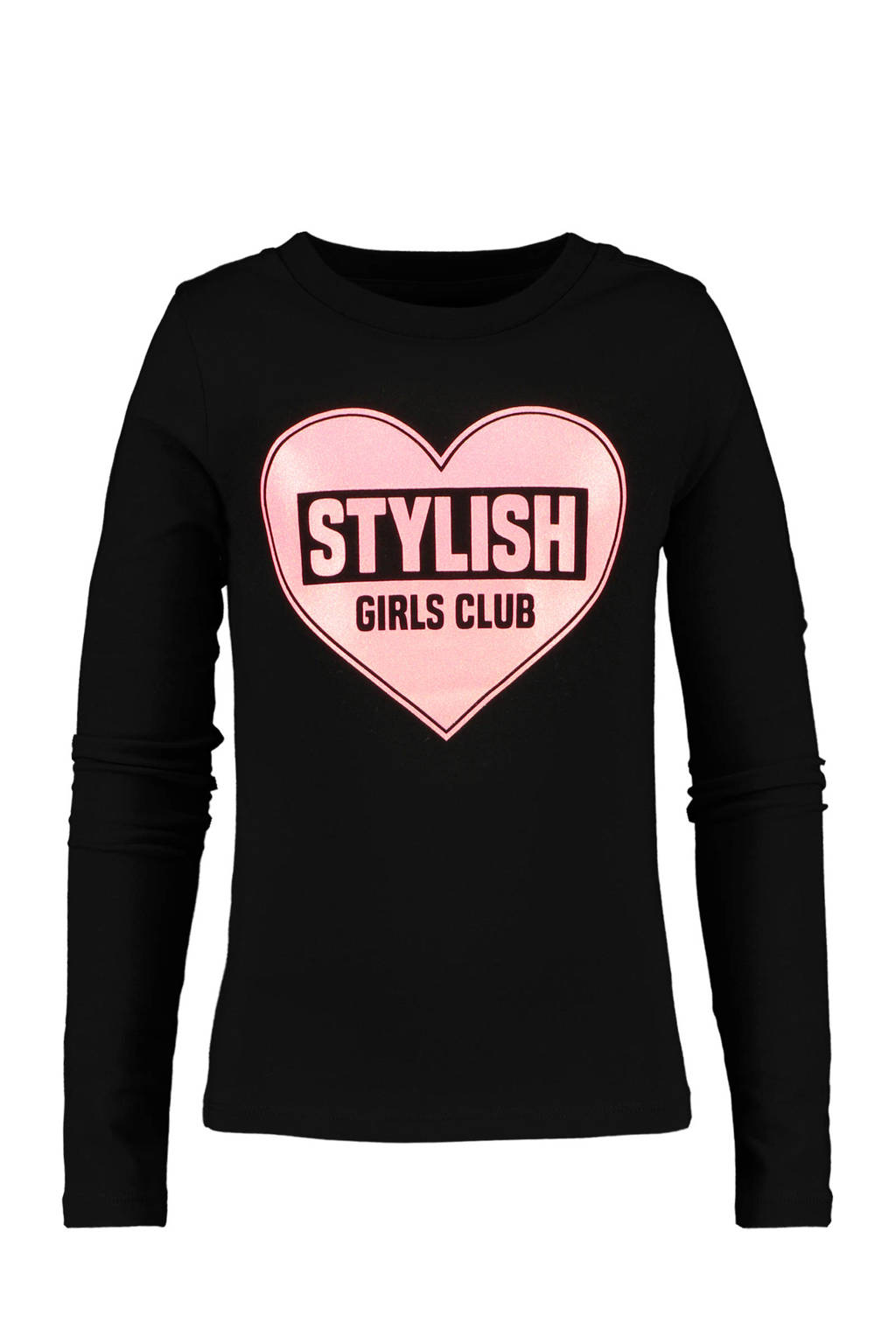 CoolCat Junior longsleeve Lianne met printopdruk zwart/roze, Zwart/roze