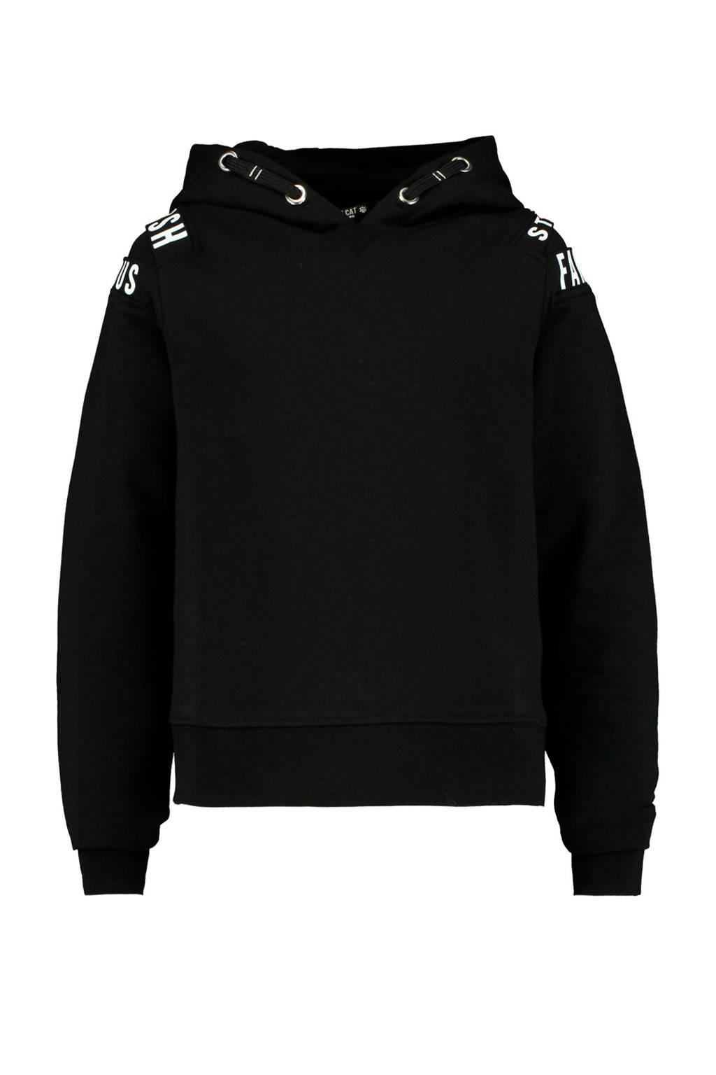 CoolCat Junior hoodie Suus met tekst zwart, Zwart