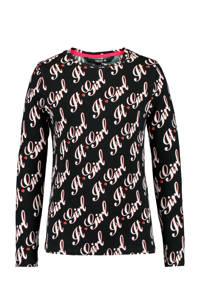 CoolCat Junior longsleeve Liz met all over print zwart/wit, Zwart/wit