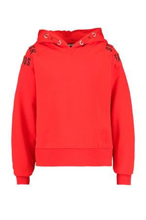 hoodie Suus met tekst rood/zwart