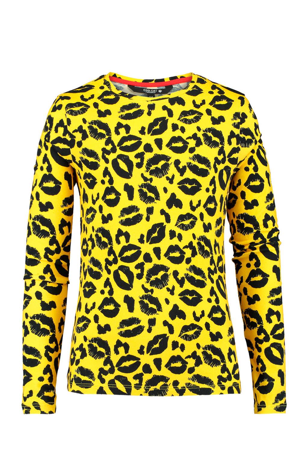 CoolCat Junior longsleeve Liz met panterprint geel/zwart, Geel/zwart