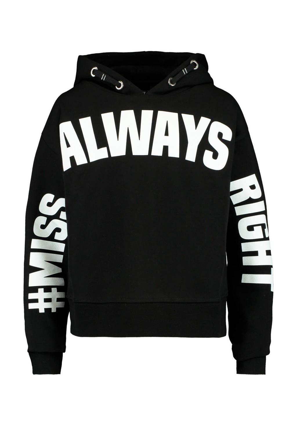 CoolCat Junior hoodie Sylvie met tekst zwart/wit, Zwart/wit