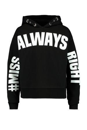 hoodie Sylvie met tekst zwart/wit
