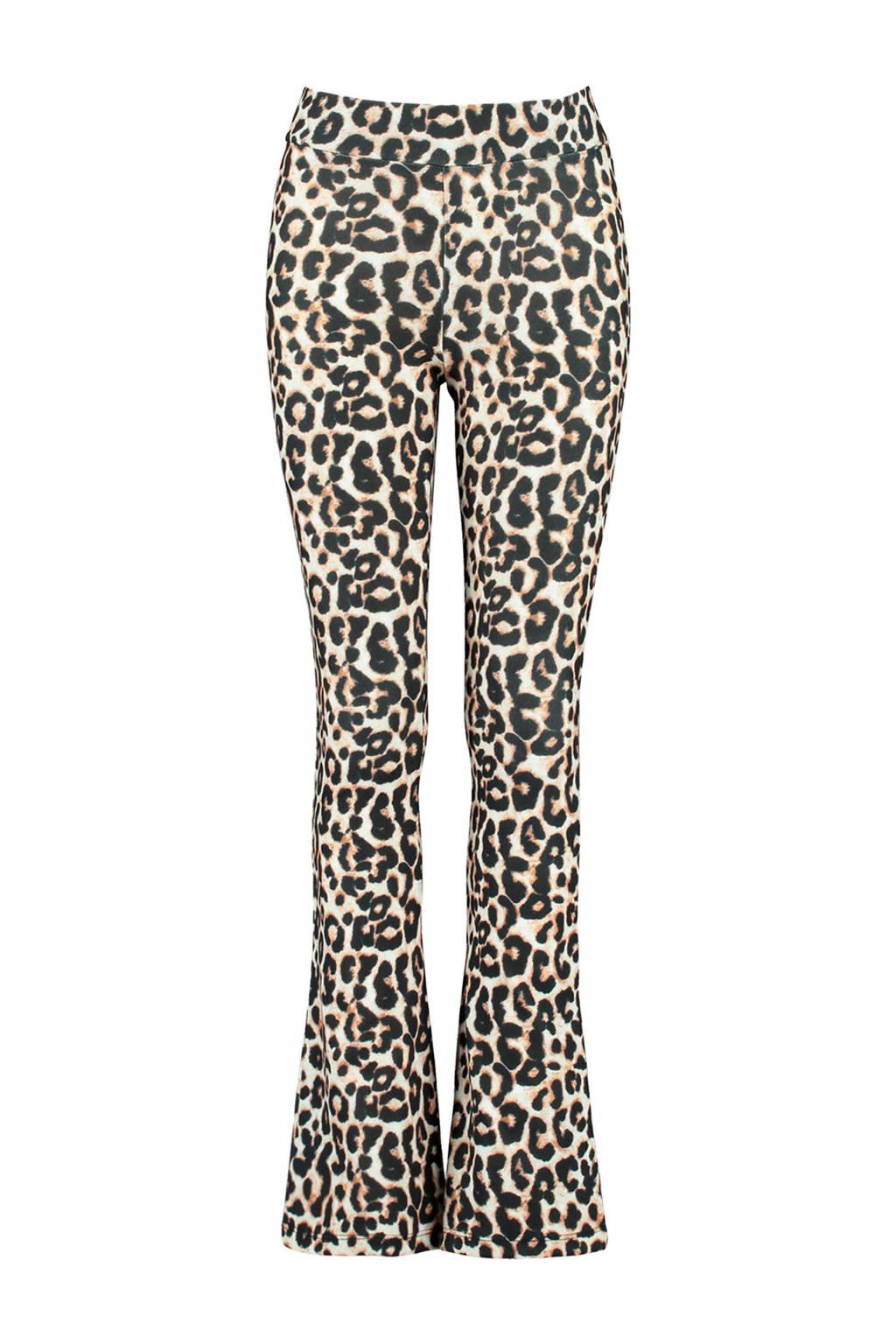 CoolCat Junior flared broek Philou met panterprint ecru/zwart/bruin, Ecru/zwart/bruin