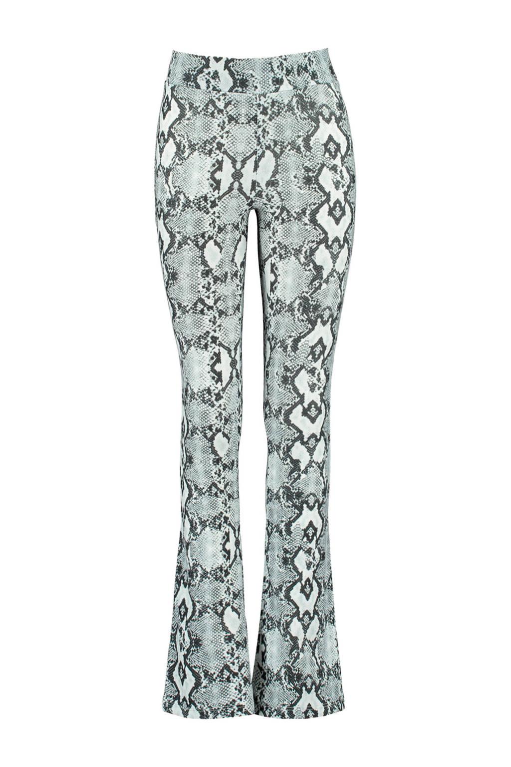 CoolCat Junior broek Philou met slangenprint lichtblauw/zwart/wit, Lichtblauw/zwart/wit