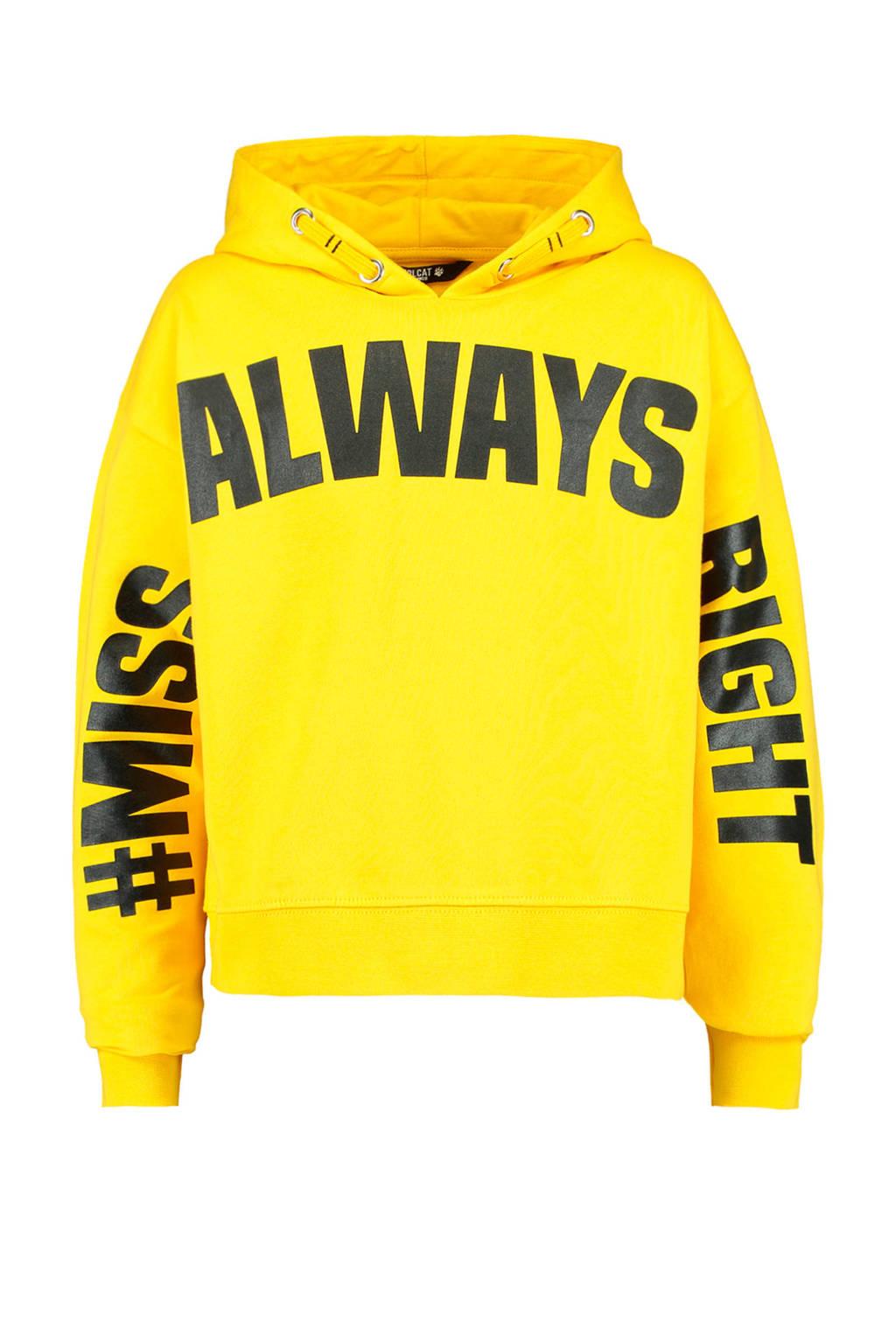 CoolCat Junior hoodie Sylvie met tekst geel, Geel