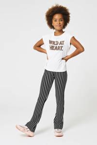 CoolCat Junior gestreepte flared broek Phileine zwart/wit, Zwart/wit