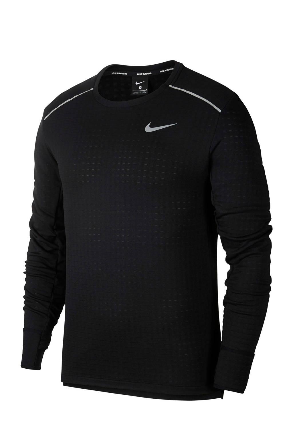 Nike   thermo hardloop T-shirt zwart, Zwart