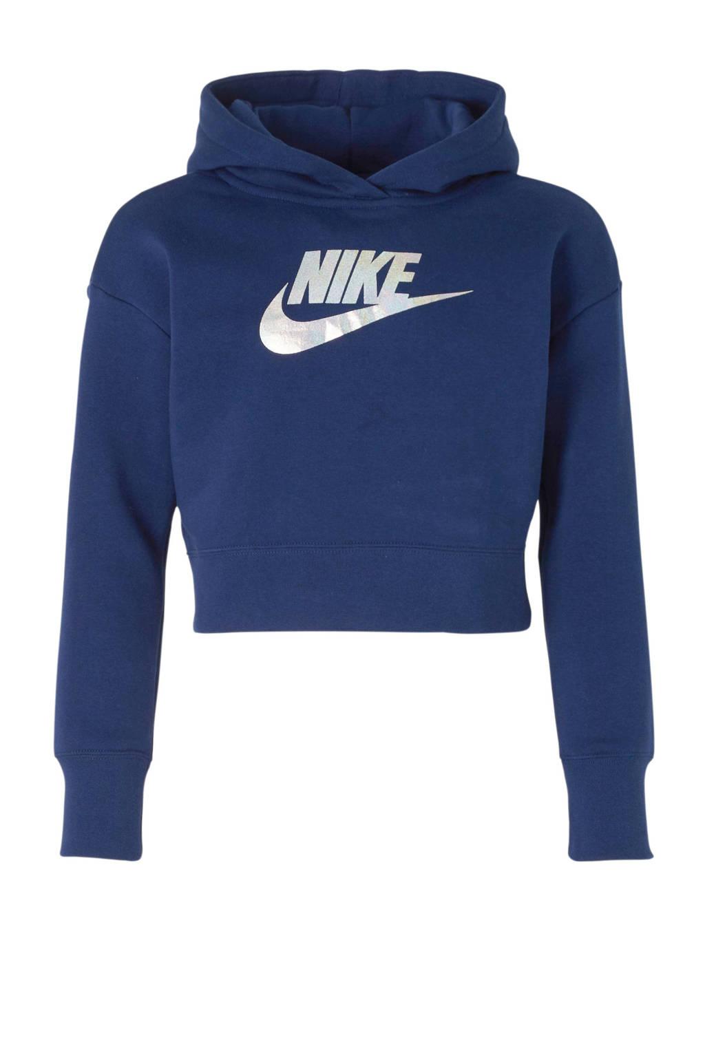 Nike cropped hoodie blauw, Blauw