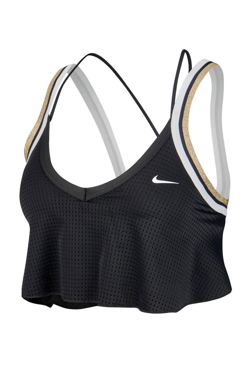 Nike sportbh zwart/wit/goud, Zwart/wit/goud