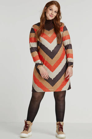 gestreepte jurk bruin/beige/oranje