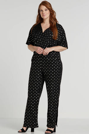 jumpsuit met all over print zwart/zilver