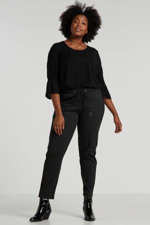 regular fit broek met krijtstreep antraciet/wit
