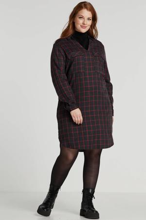 geruite jurk antraciet/rood