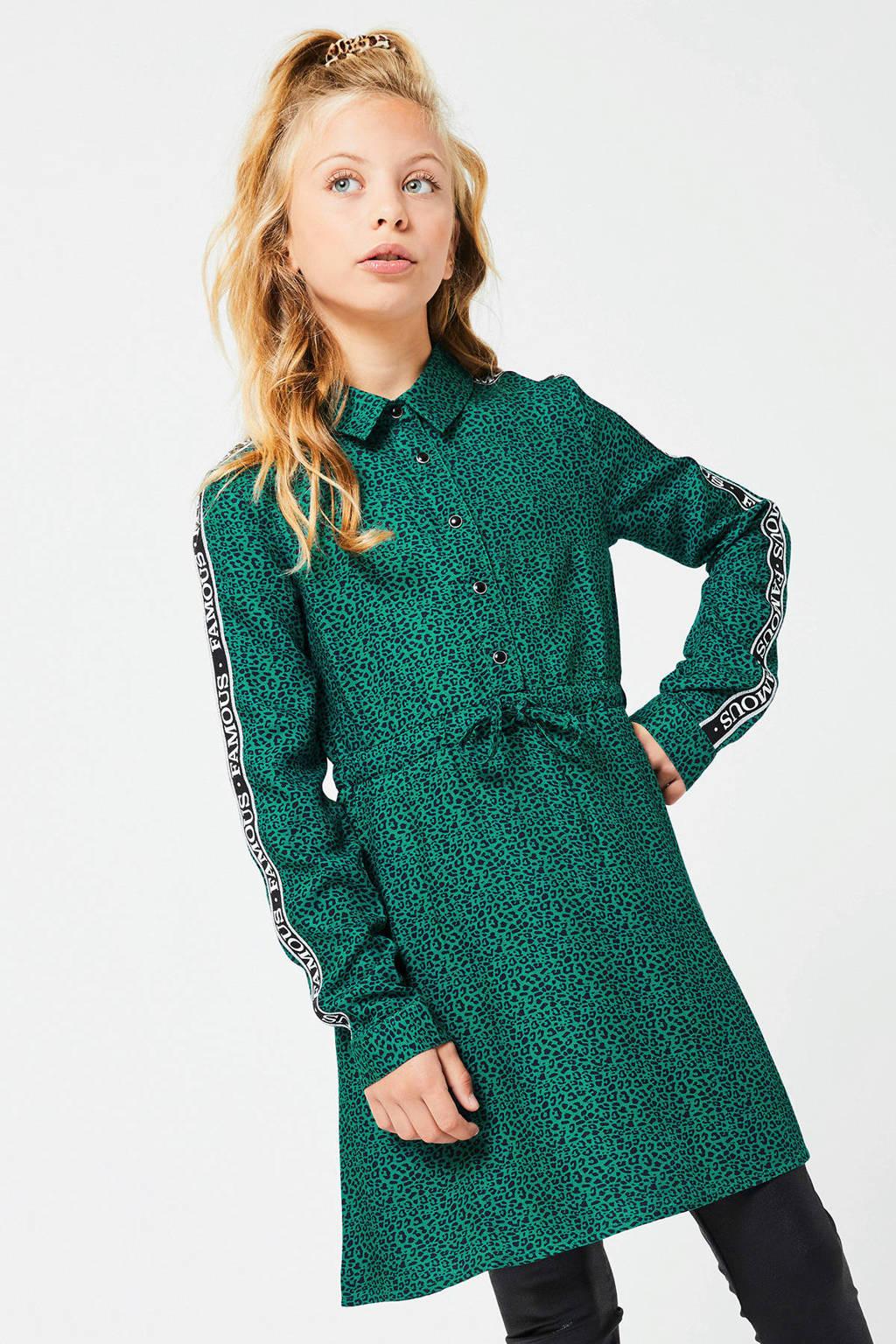 CoolCat Junior jurk Debbie met panterprint en contrastbies groen, Groen