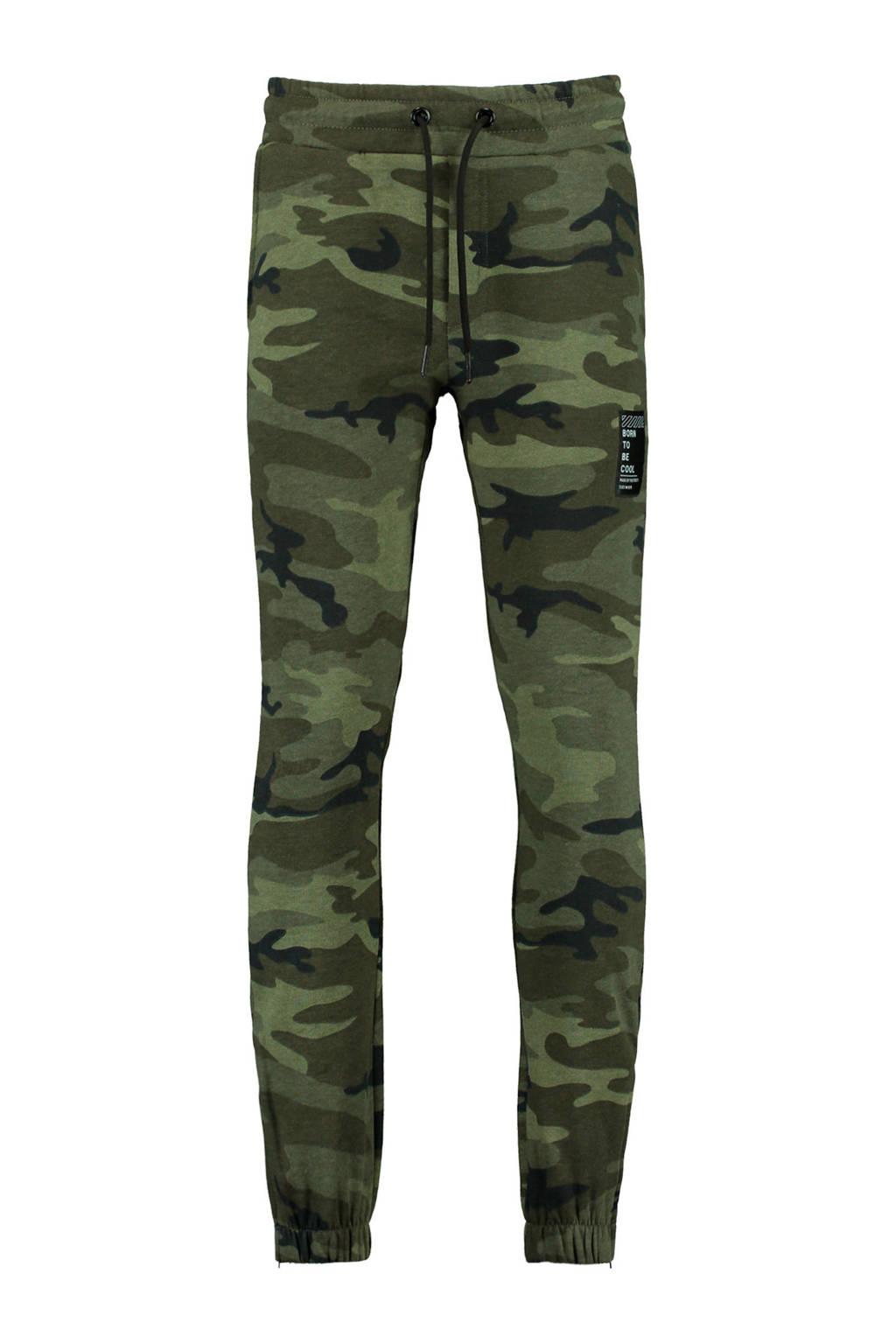 CoolCat Junior   skinny joggingbroek Casper met camouflageprint groen, Groen