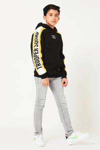 CoolCat Junior hoodie Stevie met tekst zwart/wit/geel, Zwart/wit/geel