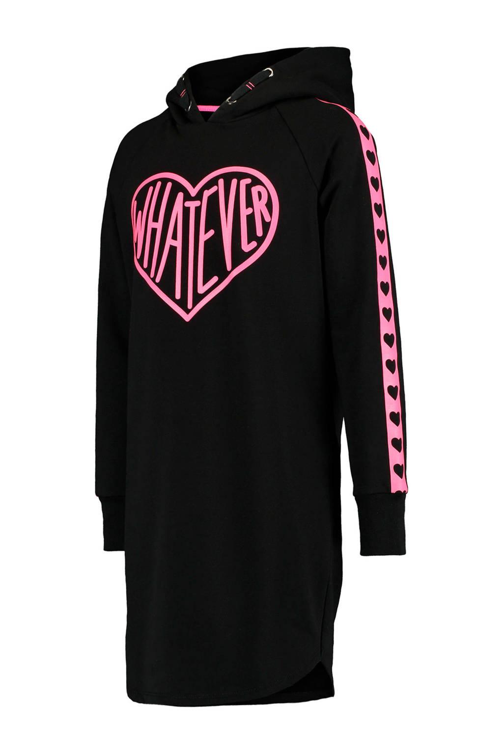 CoolCat Junior sweatjurk Dianne met contrastbies zwart/roze, Zwart/roze