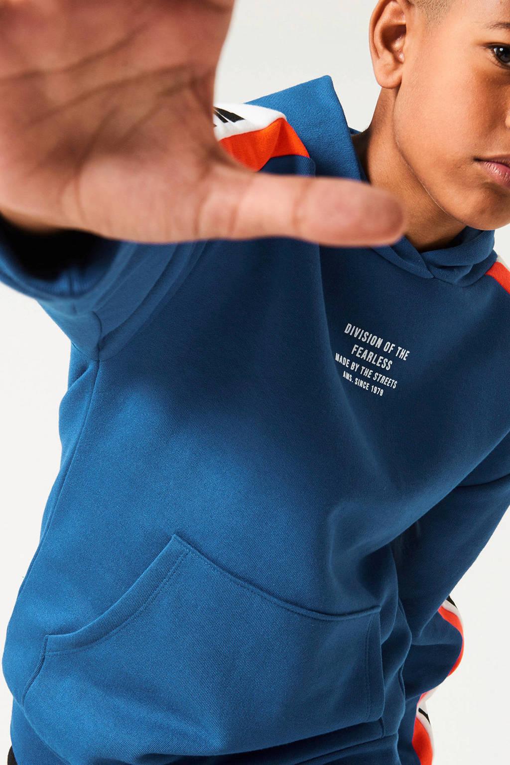 CoolCat Junior hoodie Stevie met tekst blauw/wit/oranje, Blauw/wit/oranje