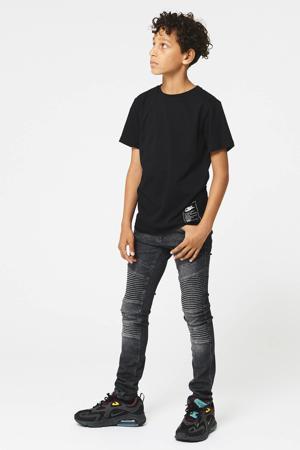 skinny jeans Koen met textuur zwart