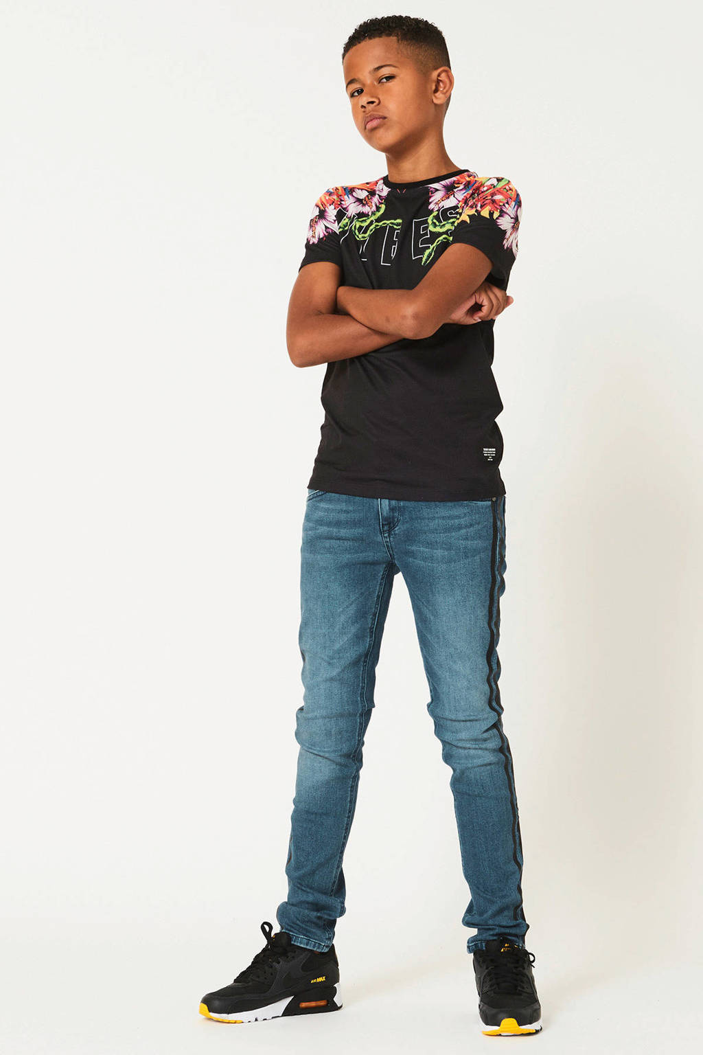 CoolCat Junior skinny jeans Kian met zijstreep light denim, Light denim