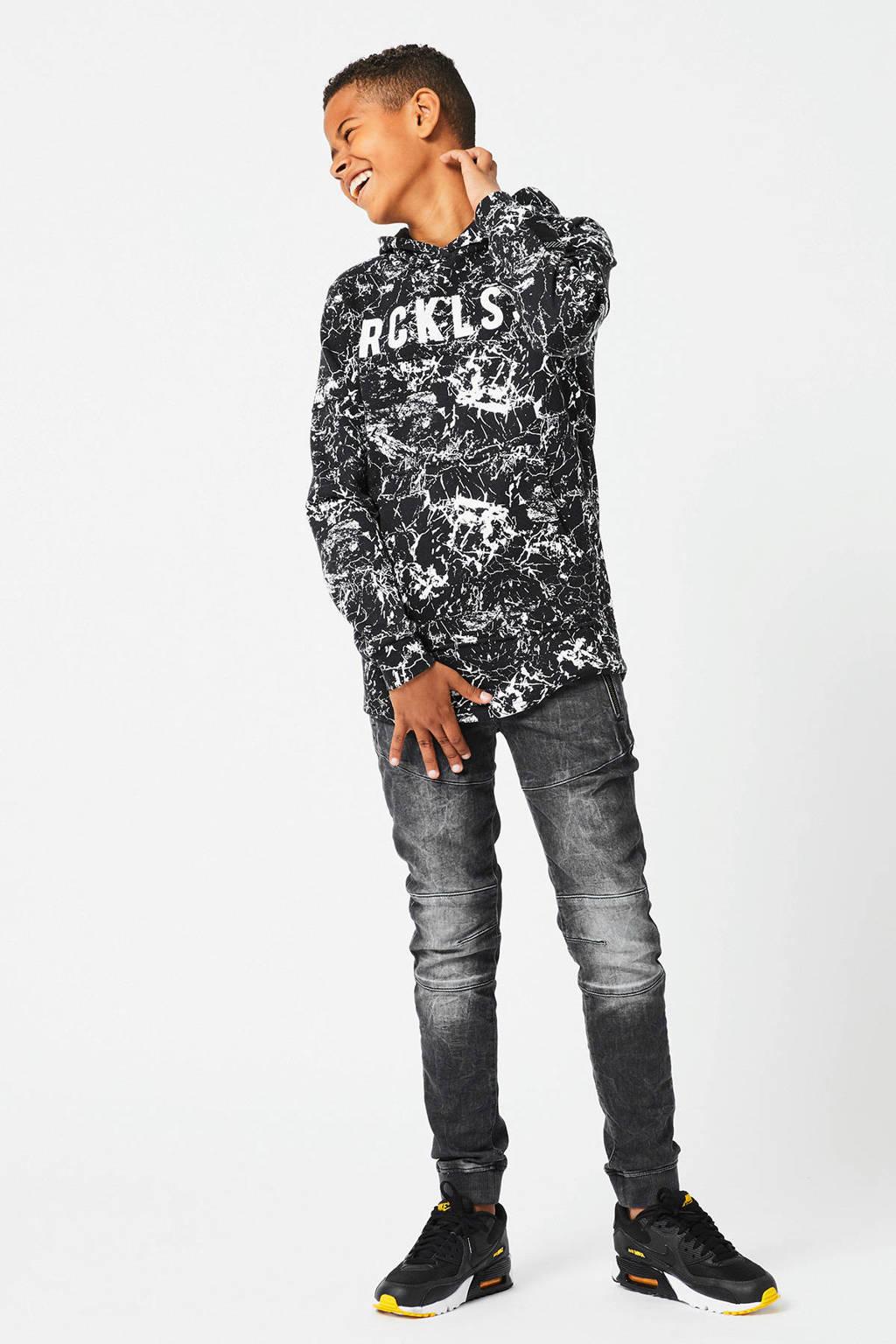 CoolCat Junior hoodie Sidney met all over print zwart, Zwart