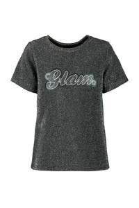 CoolCat Junior T-shirt Evi met tekst grijs, Grijs