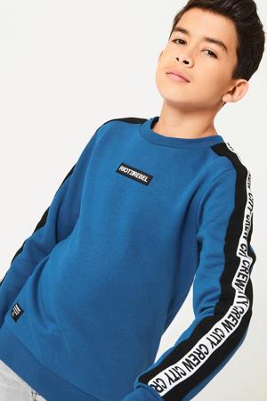 sweater Spike met contrastbies blauw/zwart/wit