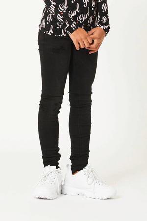 skinny jeans Katy met slijtage zwart